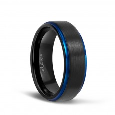Black and Blue Tungsten Carbide Wedding Rings