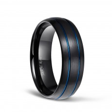 Black and Blue Grooved Tungsten Ring