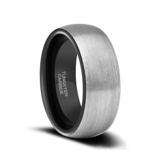 Two Tone Brushed Tungsten Wedding Bands