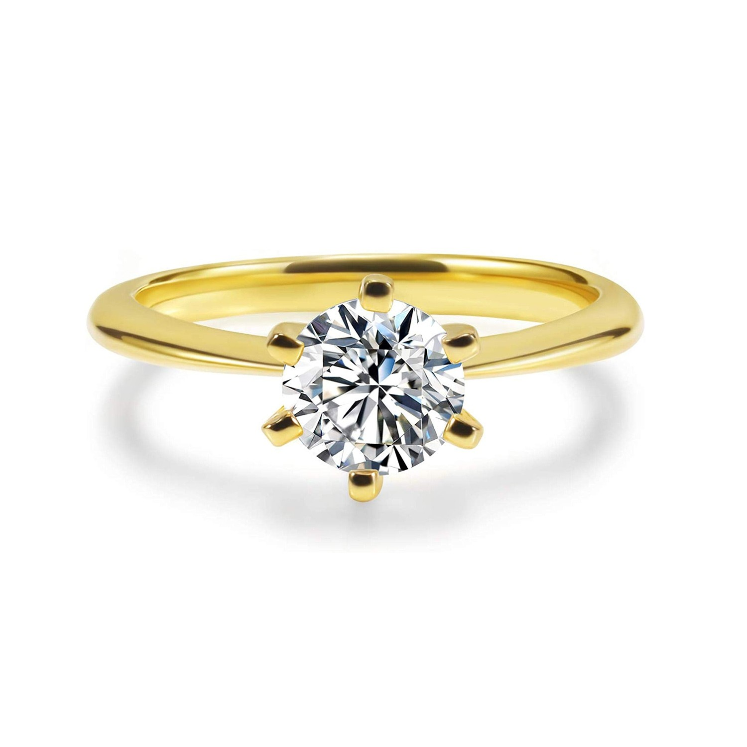 1 Carat Sona Diamond Engagement Rings Gold Plated In 925 Sterling
